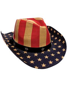 8a06d8945522 American Patriotic Stars   Stripes - Straw-like Cowboy Woven Hat - One Size