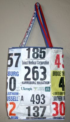 Recycle your race number bibs into a tote bag. This is a really cool idea! @Lindley Cohen Cohen Cohen Quine-Feaster  genius.
