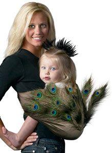 Pretty Peacock baby halloween costume sling DIY from Mamma's Milk.