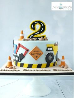 construction cake by clarice Digger Birthday Cake, Digger Cake, 3rd Birthday Cakes, 3rd Birthday Parties, Digger Party, Construction Theme Cake, Construction Birthday Parties, Second Birthday Ideas, Themed Cakes