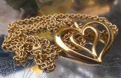 VINTAGE SGD Avon 14k Gold GP BIG Open Heart Slide Pendant Necklace 26 inches