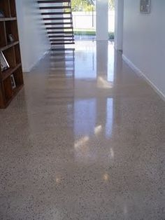 I like the speckles for laundry room  Polished concrete flooring