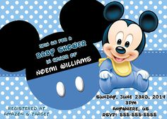 Baby Mickey Mouse Baby Shower Invitations Print your Own Mickey Digital Invite Mickey Mouse Birthday Invitations, Mickey Birthday, Birthday Nails, Boy Birthday, Birthday Ideas, Birthday Cake, Mickey Mouse Baby Shower, Baby Mouse, Ballons Mickey Mouse