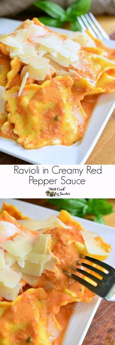 30 Minute Ravioli in Creamy Red Pepper Sauce. Ravioli in a creamy red bell pepper and basil sauce topped with shaved Parmesan cheese.