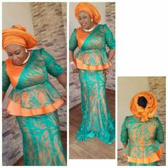 Creative Skirt and Blouse Style . Creative Skirt and Blouse Style African Lace Styles, African Lace Dresses, Ankara Styles, African Blouses, African Attire, African Wear, African Women, Lace Dress Styles, Blouse Styles