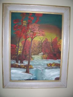 "Vintage signed Oil Painting "" AUTUMN and a CREEK""  *signed * framed  29 x 23 by LIZ404 on Etsy"