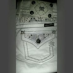 Miss Me jeans White, no damage,  no tags but New, bought during pregnancy, gray trim Miss Me Jeans Flare & Wide Leg