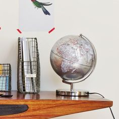 Silver Light Up Globe - View All Home Accessories - Home Accents Home Interior Accessories, Decorative Accessories, Fantasy House, Mirror With Lights, Home Accents, Light Up, Light Fixtures, Playroom, Globe