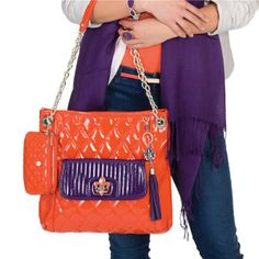 Alex purse in Orange with Reese clutch in Grape. See more beautiful purses and accessories on my website at www.eyecandy.graceadele.us