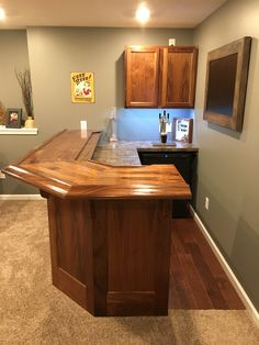 Finished Home Bar Using Walnut Bar Rail Molding. Small Basement Bars, Basement Bar Plans, Basement Bar Designs, Home Bar Designs, Basement Renovations, Basement Decorating, Decorating Ideas, Basement Ideas, Finished Basement Bars