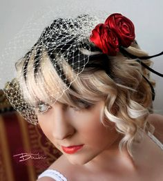 Birdcage Veil in White or Ivory and Red Rosette Fascinator. $45.00, via Etsy. THOSE ARE MY COLORS!!! I want.