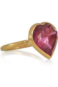 Marie-Helene De Taillac Princess 18-karat gold tourmaline heart ring