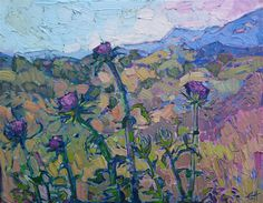 Hills and Thistles - Contemporary Impressionism | Landscape Oil Paintings for Sale by Erin Hanson