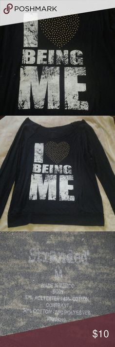 "❤ Being Me Long sleeve t-shirt. ""I ❤ being me"" Size Medium. Polyester & Cotton. This long sleeve is one to where it hangs off the side of one of your shoulder. Recommend to wear a tank top underneath. Stranded Tops Tees - Long Sleeve"