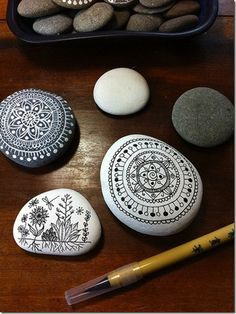 Mandalas on stones. Very meditative.
