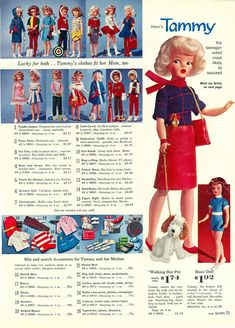 "A selection of clothing for Tammy dolls by Ideal, including the full range of debut fashions, mix and match ""pak"" accessories, and the initial $1.92 basic Tammy doll (with hair color chosen at random by the dispatching factory), from that year's Sears Christmas Wish Book, United States, 1963, published by Sears, Roebuck & Co."