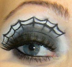 Spider web eye makeup.