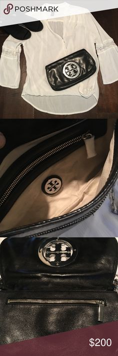 Tory Burch clutch/crossbody silver logo Tory Burch classic clutch/crossbody. You get two looks for one price. In pre-owned condition with some minor scratches on the logo. No rips,tears and comes from a smoke free home. Good condition inside see pictures. This will come with a dust bag and Tory Burch shopping bag. Perfect for the holidays. Tory Burch Bags Clutches & Wristlets