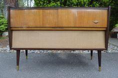 Vintage Mid Century Stereo Cabinet, Mid Century Furniture, Refurbish, Furniture Console