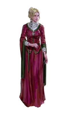 Female Human Aristocrat Red Dress - Pathfinder PFRPG DND D&D 3.5 5th ed d20 fantasy