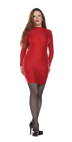 Long Sleeve Red Spandex Dress