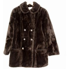 Vintage 60s/70s Plush Faux Fur Beaver-Color Double-Breasted Pea Coat... ($20) ❤ liked on Polyvore featuring outerwear, coats, jackets, coats & jackets, vintage pea coat, white peacoat, double breasted long coat, fake fur coats and long white coat