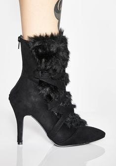 dffa76fd Faux Suede Fur Pointed Ankle Booties | Dolls Kill Black Ankle Booties, Faux  Fur,. Default Store View