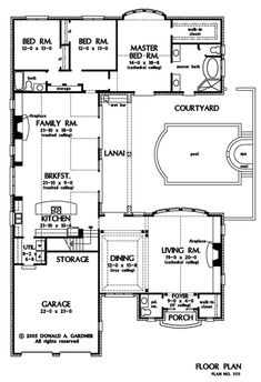 Love this, though would turn stairwell into walk in pantry and enlarge laundry/mud room, then flip flop the master bedroom and master bath/closet with Windows also facing courtyard.