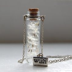 Dandelion Seeds Handmade Make A Wish Bottle Jar Necklace Jewelry Jewellery | eBay