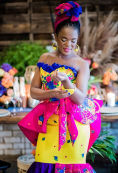 Ebontu presents an amazing modern South African wedding inspirational styled photoshoot featuring 8 Amazing African Wedding Dresses! Wedding Vendor Team: Shifting Sands Couture, Alexander Smith Photography and more. Wedding Dresses South Africa, African Wedding Attire, African Attire, Latest African Fashion Dresses, African Print Dresses, African Dress, Tsonga Traditional Dresses, South African Traditional Dresses, Traditional Wedding Attire