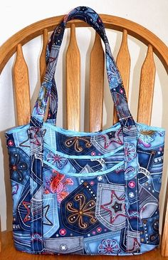 Denim Pockets and Diamonds - Handbag, Shoulder Bag, Adj Strap, Outside Pockets, Purse