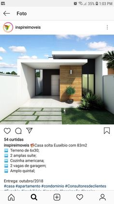 faixadas  modelo Modern Small House Design, Simple House Design, Small Modern Home, House Front Design, Minimalist House Design, Modern Design, D House, Facade House, House Blueprints