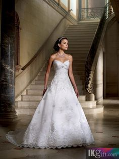 A-Line Sweetheart Satin and Lace Wedding Dress - Ball Gown Dresses - Wedding Dresses - Wedding & Events