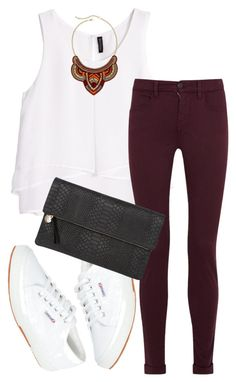 """Burgundy"" by saraishi ❤ liked on Polyvore featuring H&M, J Brand, Superga, Clare V. and Mixit"