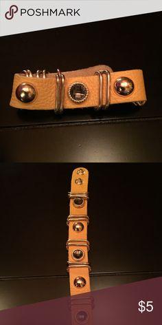 Yellow faux leather bracelet Snap closure yellow faux leather bracelet with gold trim detail Jewelry Bracelets