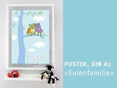 """Poster, DIN A2 """"Eulenfamilie im Baum"""" von die frizzles auf DaWanda.com"""