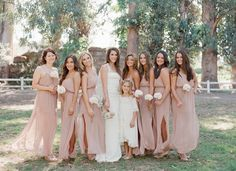 2014 Wedding Trends | Blush & Nude Tones | Blush Bridesmaid Dresses + Floral Crowns