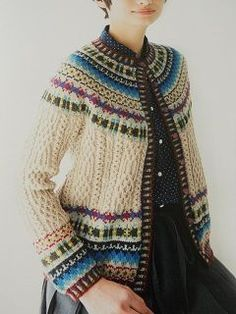 Cables and Fair Isle Fair Isle Knitting Patterns, Fair Isle Pattern, Knitting Designs, Knit Patterns, Knitting Tutorials, Stitch Patterns, Punto Fair Isle, Only Cardigan, Norwegian Knitting