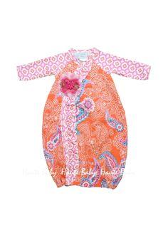 Haute Baby Tangerine Zing Gown  Size 0-3M