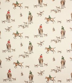 Hunting fabric is a printed cotton fabric with a fox hunting scene. Great for curtains and blinds, it is also suitable for light weight upholstery and cushions. Washable at 30 degrees. Equestrian Bedroom, Equestrian Decor, Hallway Wallpaper, Horse Wallpaper, Chinoiserie, Horse Fabric, Sewing Room Decor, Fox Hunting, Lodge Style