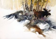 Wildlife Art, Original Paintings, Contemporary Artwork, and Giclee Prints by Morten E. Solberg (Home Page) Art Watercolor, Watercolor Animals, Watercolor Landscape, Landscape Art, Landscape Paintings, Moose Pictures, Rena, Galerie D'art, Wildlife Art
