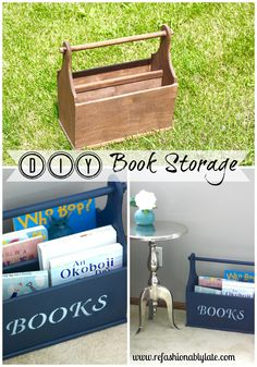 Turn an old magazine holder into book storage!  Great way to store children's books in a family area!