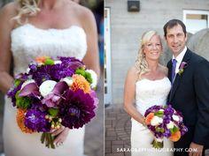 purple green and orange bridal bouquet  calla lilies, ranunculos, roses, dahlias   www.sophisticatedfloral.com