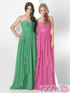 A-Line/Princess Sweetheart Sleeveless Pleats Chiffon Floor-Length Dresses - Bridesmaid Dresses - Weddings - CDdress.co