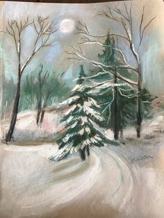 Pastel of my driveway in winter