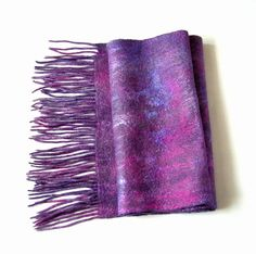 Soft wool and silk felted scarf with fringe  Purple by lannarfelt, $61.00