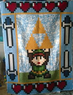 Custom baby quilt for newly-spawned gamer Quilting Projects, Quilting Designs, Crochet Projects, Sewing Projects, Quilting Ideas, Yarn Crafts, Sewing Crafts, Geek Crafts, Zelda Baby