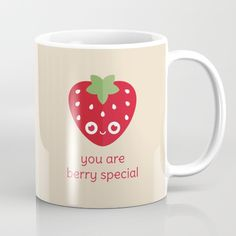 You Are Berry Special Mug - pun, puns, strawberry, strawberries, berry, berries, food, funny, cute, love, relationship, tasteful, tasty, relationships, valentine, valentines, vector, art, illustration, drawing, design