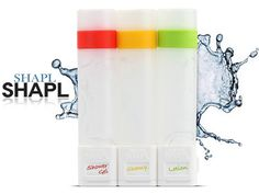 SHAPL-Smart Shower Container by SHAPL — Kickstarter.  SHAPL is a bath product, for home or travel, that stores shower liquids in easily refillable containers that link together.