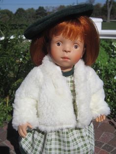 13in Sylvia Natterer Bye Bye Dolly doll with red hair and box. Box opens up to be a car.